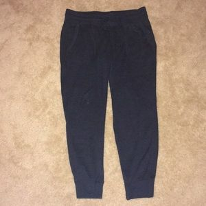 Navy mid-rise sweater knit joggers